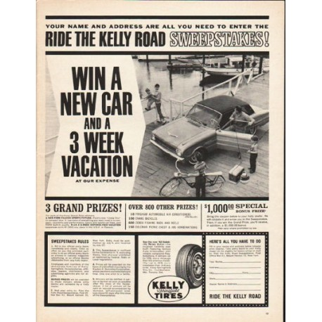 """1962 Kelly-Springfield Tires Ad """"Ride the Kelly Road"""""""