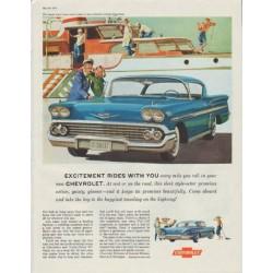 "1958 Chevrolet Impala Sport Coupe Ad ""Excitement Rides"""