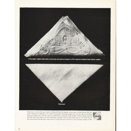 "1962 Zee Paper Napkin Ad ""just as luxurious and just as elegant"""