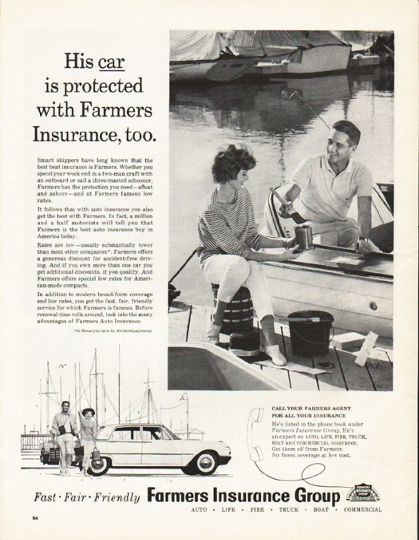 "1962 Farmers Insurance Group Vintage Ad ""His car is protected"""