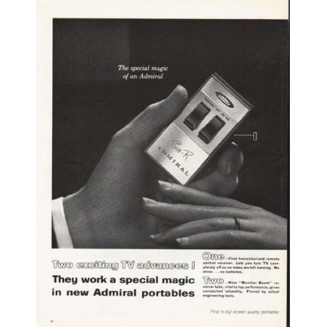 """1962 Admiral TV Portables Ad """"Two exciting TV advances!"""""""