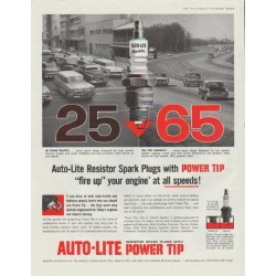 "1958 Auto-Lite Spark Plugs Ad ""Power Tip"""