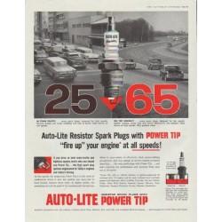 "1958 Auto-Lite Spark Plugs Ad ""Power Tip"""