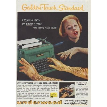 """1958 Underwood typewriter Ad """"Golden-Touch Standard"""""""