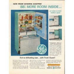 "1962 General Electric Refrigerator Ad ""no defrosting ever"""