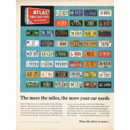 "1962 Atlas Tires Ad ""The more the miles"""