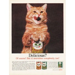 "1962 Friskies Cat Food Ad ""it nourishes completely"""