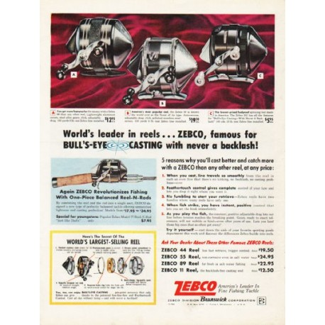 "1962 Zebco Fishing Reels Ad ""never a backlash"""