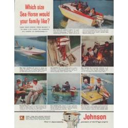 """1958 Johnson Outboard Engine Ad """"Sea-Horse"""""""