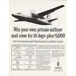 "1962 Champion Spark Plugs Ad ""your own private airliner"""