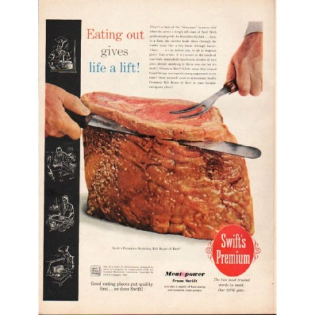 "1962 Swift's Premium Beef Ad ""Eating out"""