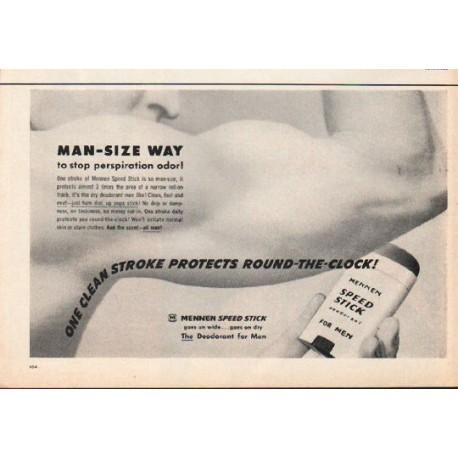 """1962 Mennen Speed Stick Ad """"Man-Size Way"""""""