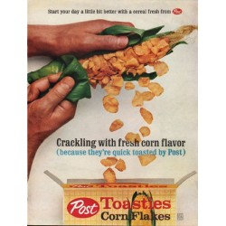 "1962 Post Toasties Corn Flakes Ad ""Crackling"""