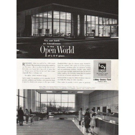 "1962 Libbey Owens Ford Glass Ad ""Open World"""
