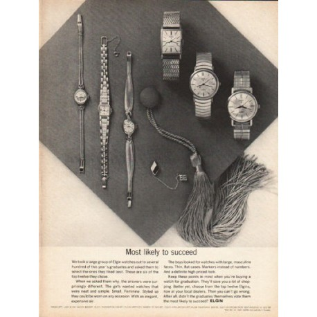 "1962 Elgin Watches Ad ""Most likely to succeed"""