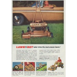 "1958 Lawn-Boy Ad ""tailor-trims the most uneven lawns!"""