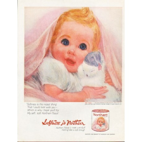 """1962 Northern Tissue Ad """"Softness is Northern"""""""