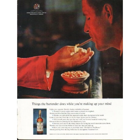 """1962 Canadian Club Whisky Ad """"Things the bartender does"""""""