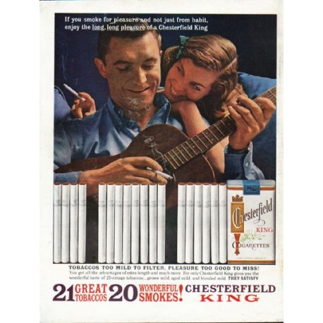 "1962 Chesterfield King Cigarettes Ad ""smoke for pleasure"""