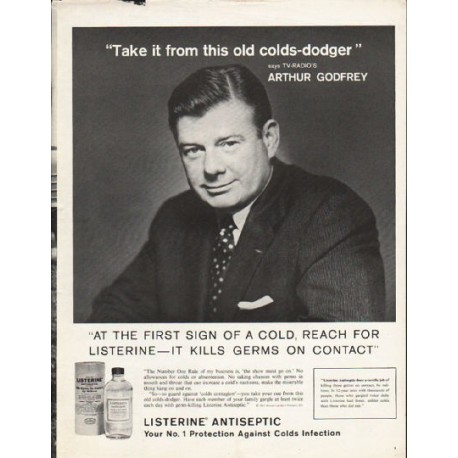 """1962 Listerine Antiseptic Ad """"At the first sign"""""""