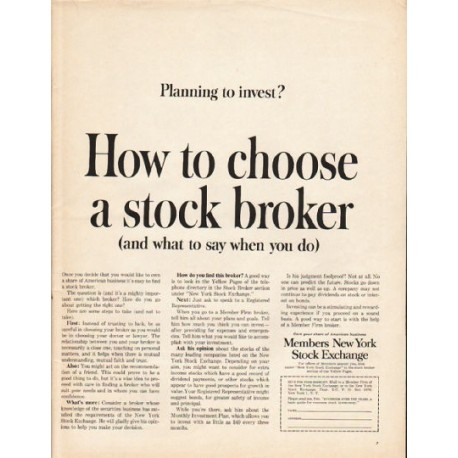 "1962 Members New York Stock Exchange Ad ""Planning to invest?"""
