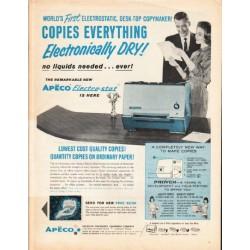 "1962 Apeco Electro-Stat Copier Ad ""Copies Everything"""