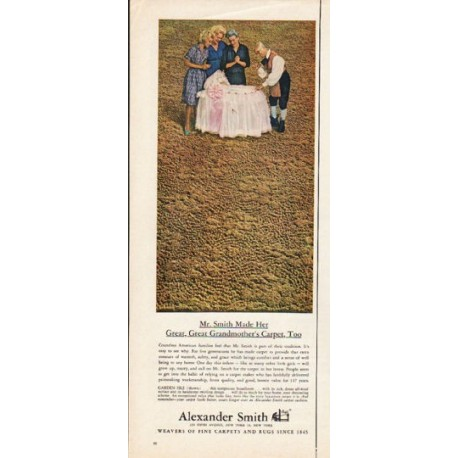 """1962 Alexander Smith Fine Carpets Ad """"Great Grandmother"""""""