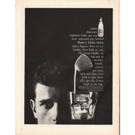 """1962 Rose's Lime Juice Ad """"Listen, character"""""""