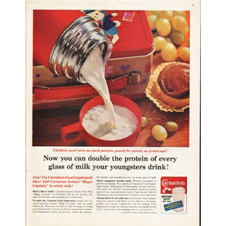 """1962 Carnation Instant Milk Ad """"double the protein"""""""