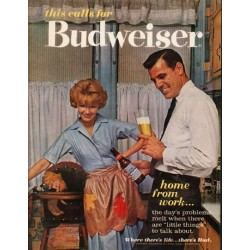 "1962 Budweiser Beer Ad ""home from work"""