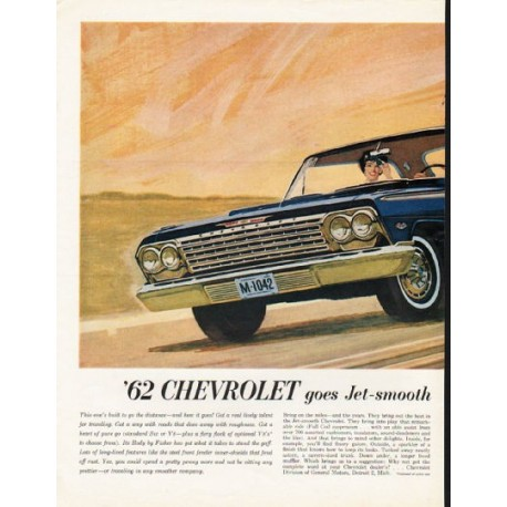 """1962 Chevrolet Impala Sport Coupe Ad """"goes Jet-smooth"""" ~ (model year 1962)"""