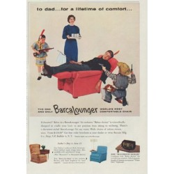 "1958 BarcaLounger Ad ""for a lifetime of comfort"""