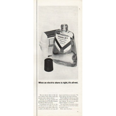 "1962 Yardley Shaving Lotion Ad ""it's all wet"""