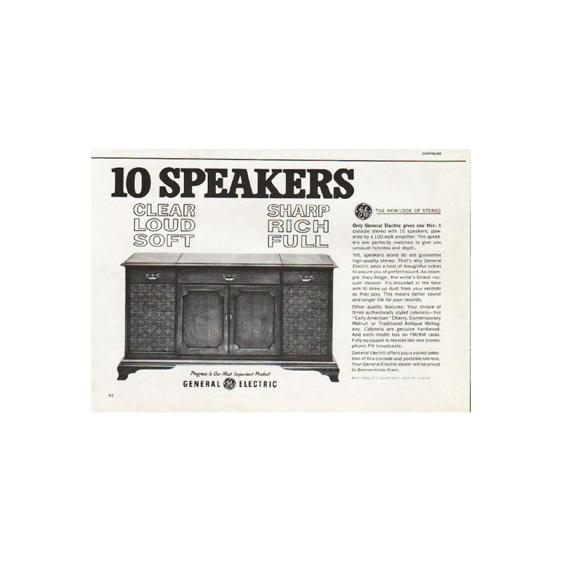 1962 General Electric Stereo Vintage Ad 10 Speakers