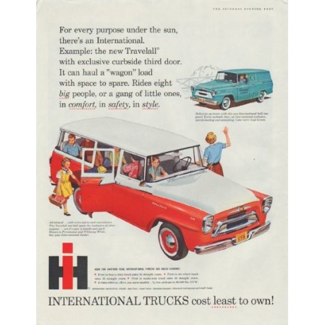 "1958 International Trucks Ad ""cost least to own!"""