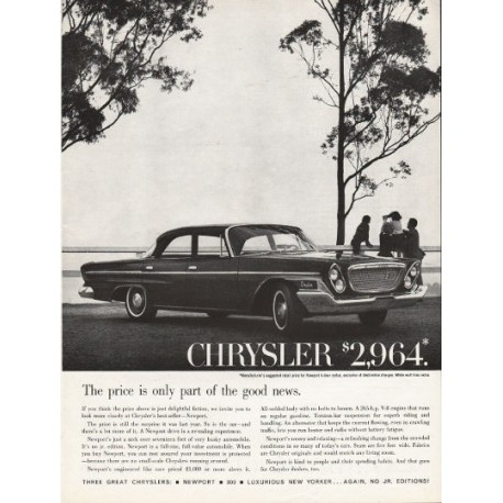 """1962 Chrysler Newport Ad """"part of the good news"""" ~ (model year 1962)"""