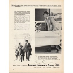 "1962 Farmers Insurance Group Ad ""His home is protected"""