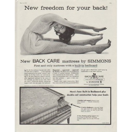 """1958 Simmons Ad """"New freedom for your back!"""""""