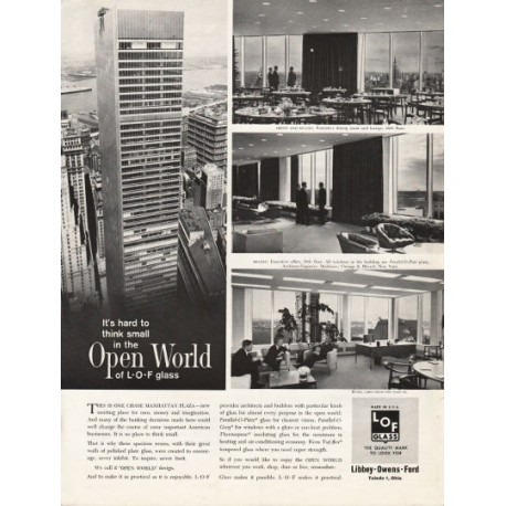 """1962 Libbey Owens Ford Glass Ad """"hard to think small"""""""