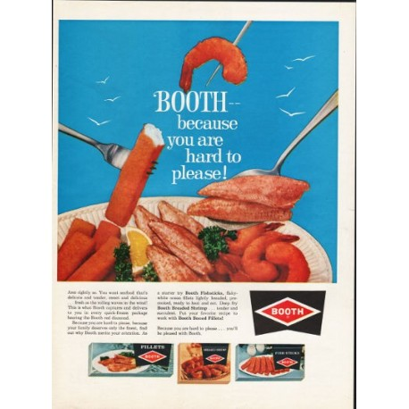 """1962 Booth Seafood Ad """"hard to please"""""""