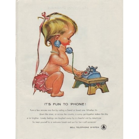 "1958 Bell Telephone System Ad ""It's Fun to 'Phone !"""
