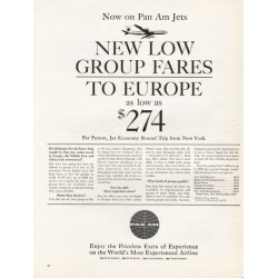 "1962 Pan Am Airlines Ad ""low group fares to Europe"""