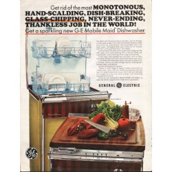 "1966 General Electric Dishwasher Ad ""Mobile Maid Dishwasher"""