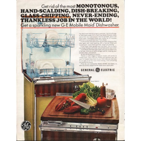 "1966 General Electric Dishwasher Ad ""Mobile Maid Dishwasher"""