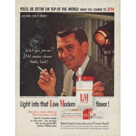 """1958 L&M Cigarettes Ad """"Jack Webb -- Star of Dragnet"""""""