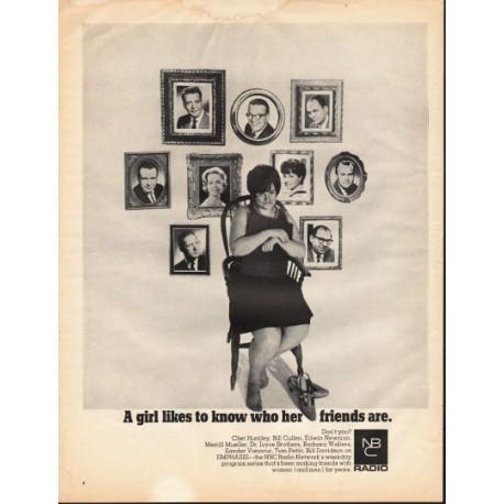 "1966 NBC Radio Network Ad ""who her friends are"""