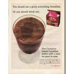 "1966 Carnation instant breakfast Ad ""good, nourishing breakfast"""