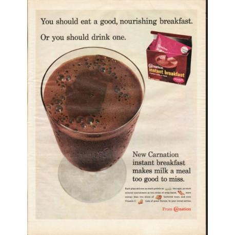 "1966 Carnation instant breakfast Ad ""good, nourishing breakfast"""