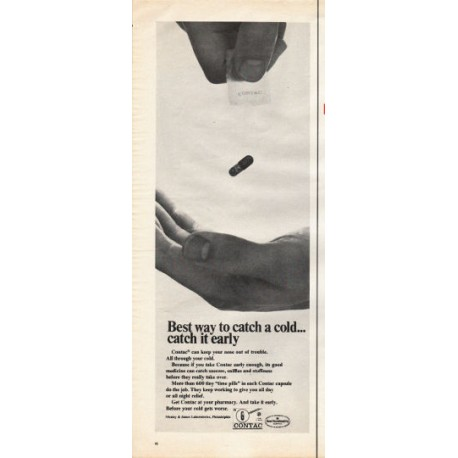 "1966 Contac cold medicine Ad ""Best way to catch a cold"""