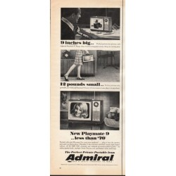 "1966 Admiral Portable TV Ad ""9 inches big"""